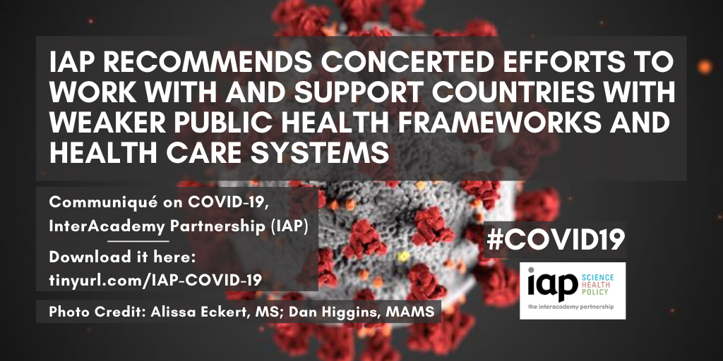 "IAP blanket: ""IAP recommends concerted efforts to work with and support countries with weaker public health frameworks and health care systems"""